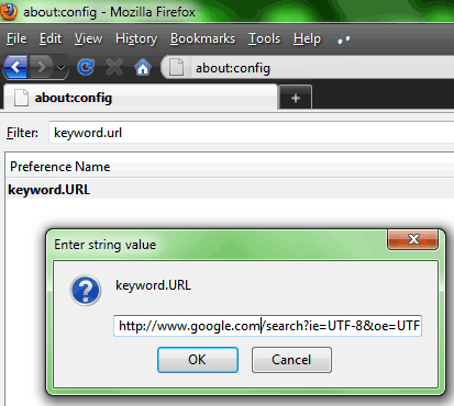Instructions for adding keyword.URL in firefox about config settings