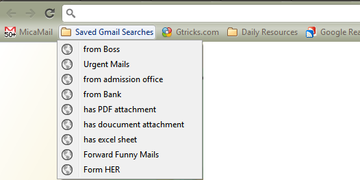 Saved Gmail Searches
