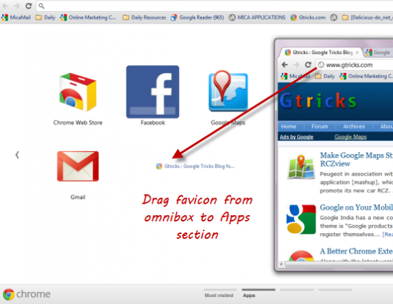 drag favicon to apps