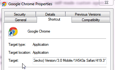 Google Chrome Properties box
