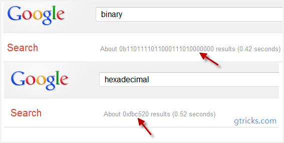 google binary hexadecinal easter egg