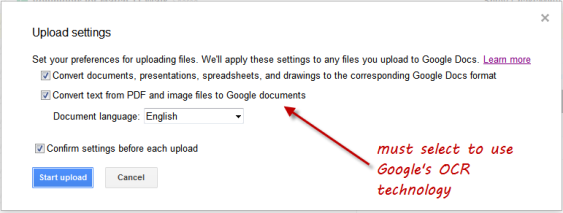 google docs upload file