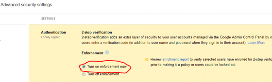 Google Apps Enable 2 Step Verification