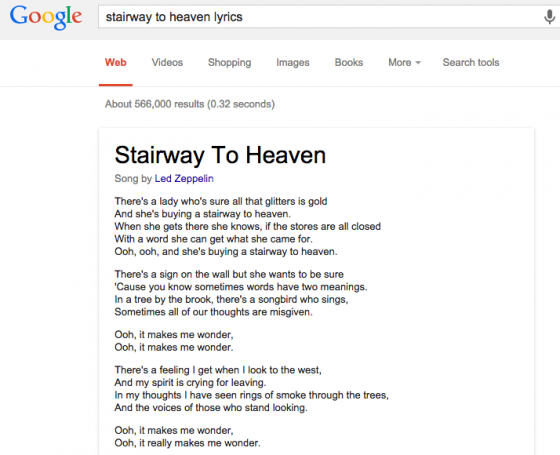 Lyrics in Google