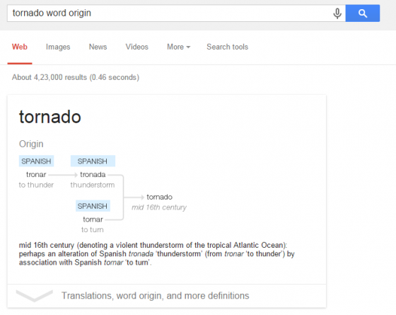 Word Origin in Google Search