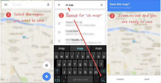 Offline saved maps can be used anytime