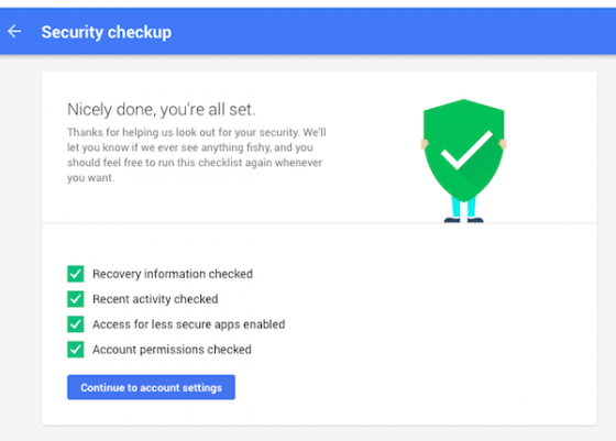 Google Account Security Checkup
