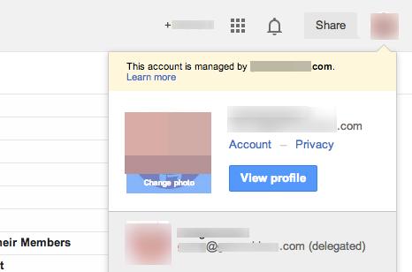 Gmail delegation status