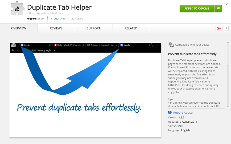 Duplicate tab helper extension