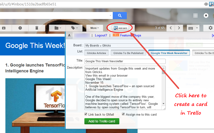 GMail to Trello Chrome extension