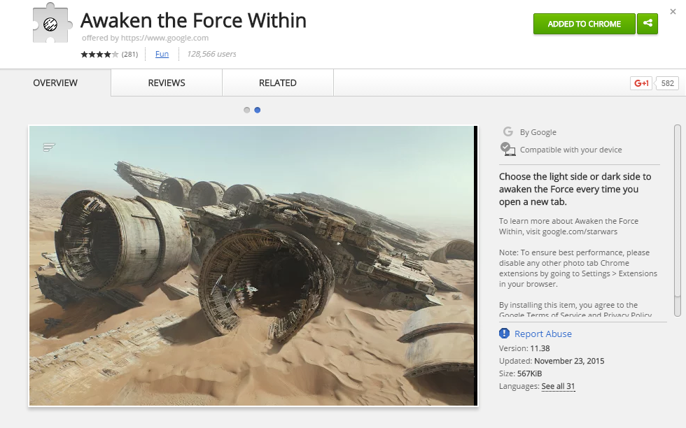 Star Wars Extension in Chrome Store