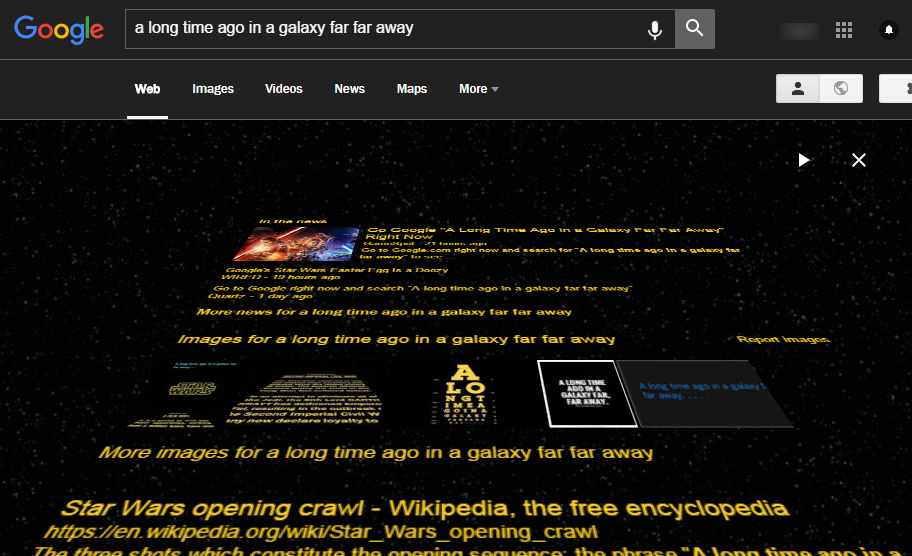 "Search ""a long time ago in a galaxy far far away"""