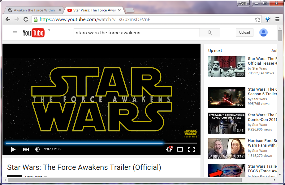 Star Wars YouTube Progress bar Easter egg