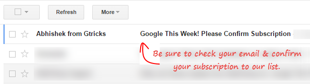 new mail in gmail to confirm subscription