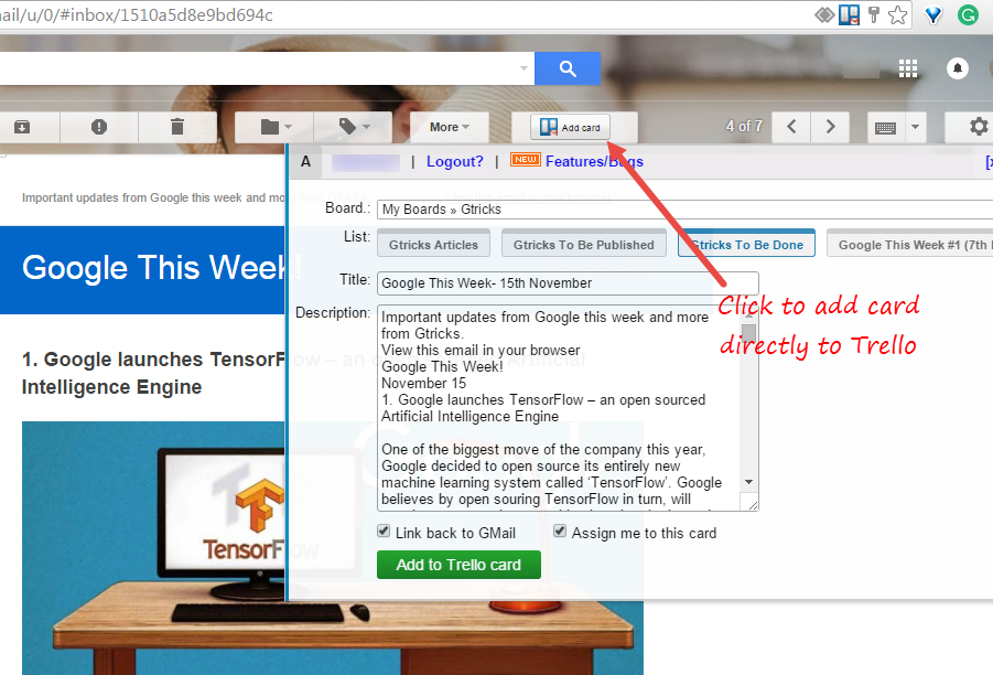GMail to Trello extensions