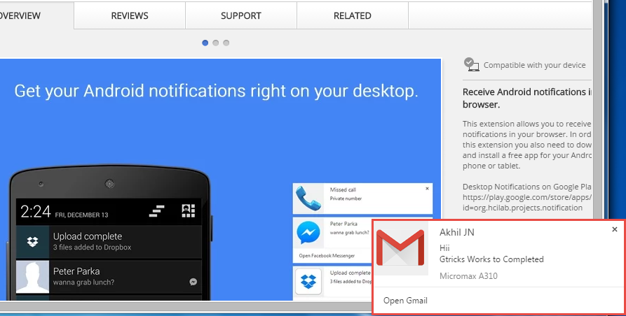 Desktop Notifications for Android - Gtricks