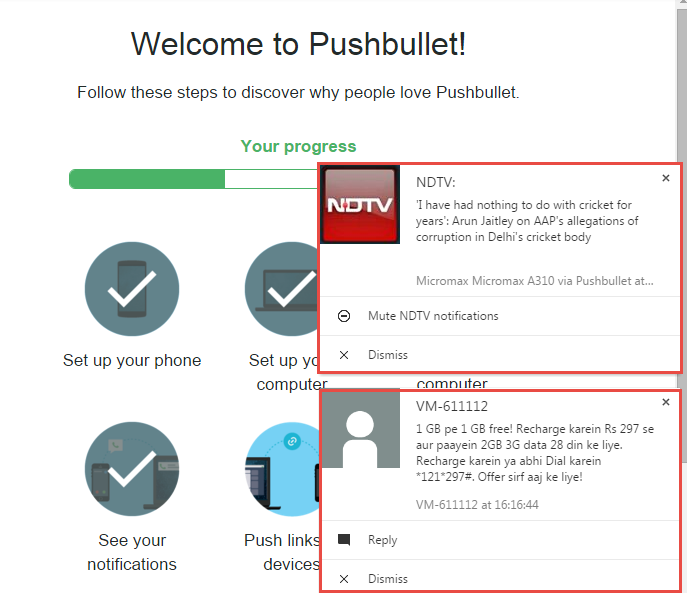 PushBullet android notifications - Gtricks