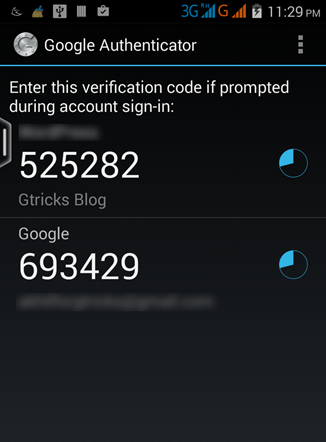 Enter the code from app
