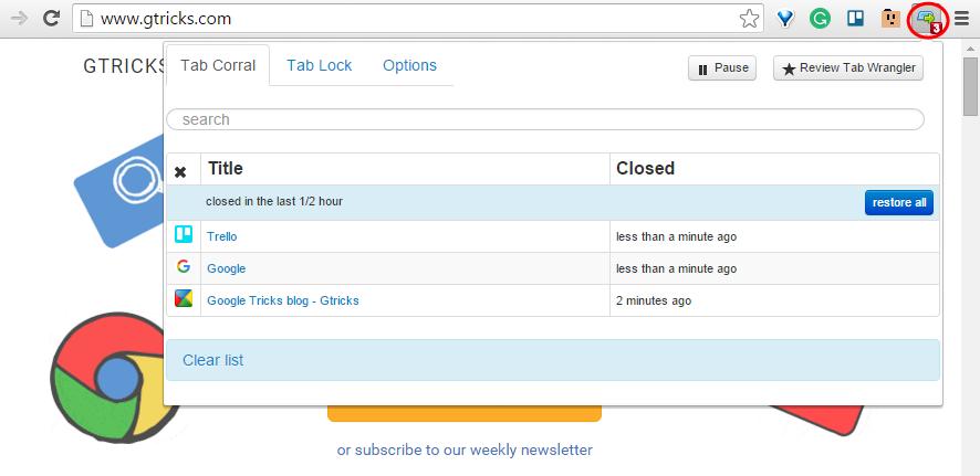 Tab Wrangler extension for Chrome
