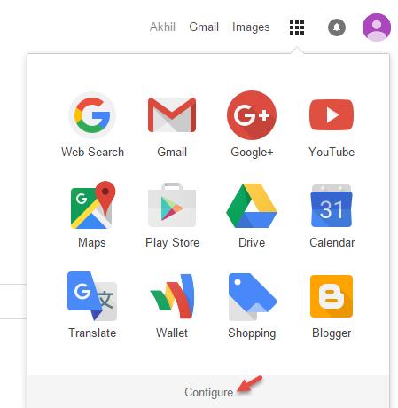 Click Configure to add shortcuts