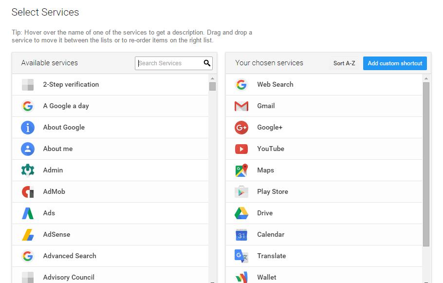 App launcher customizer for Google settings