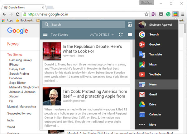 Google News panel in Black Menu