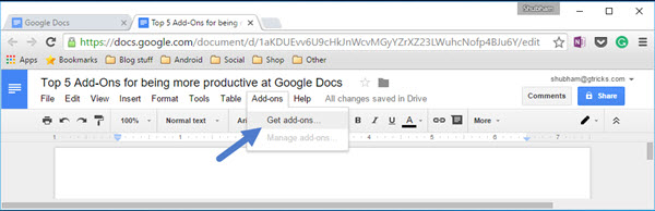Google Docs top menu