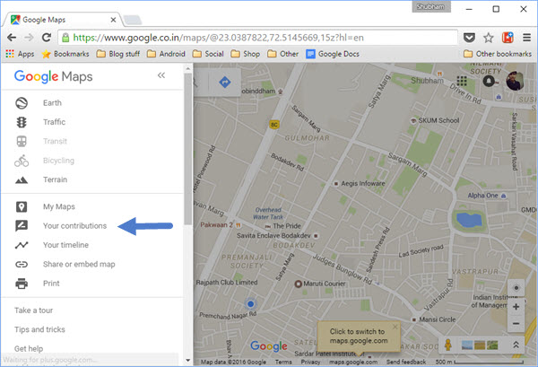 Contributions on Google Maps