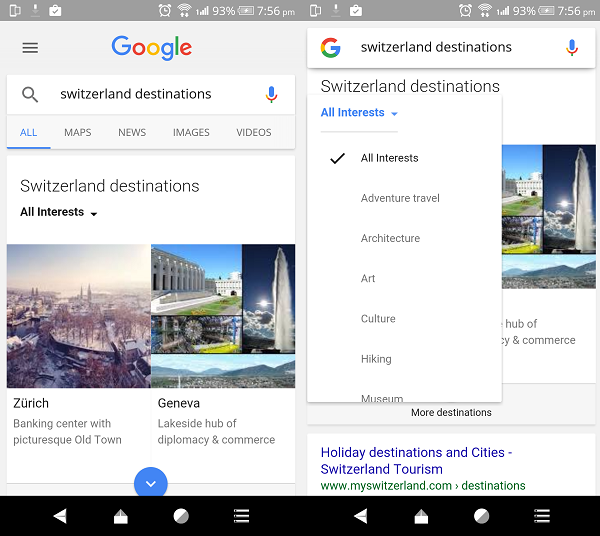 Google Destinations Tips
