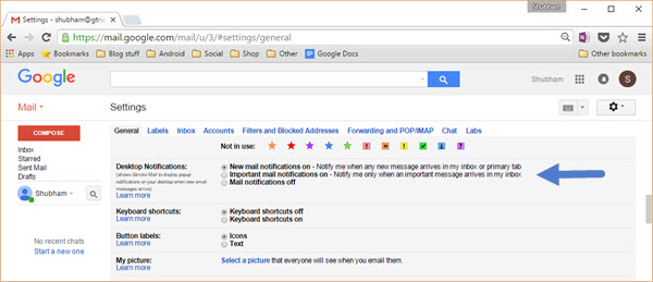 gmail notification settings
