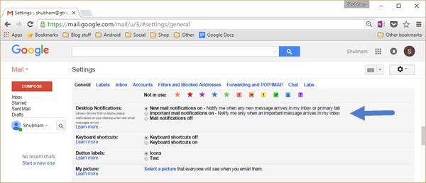 gmail notification settings
