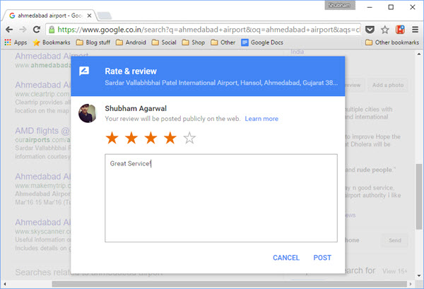 Google review on Desktop - Gtricks