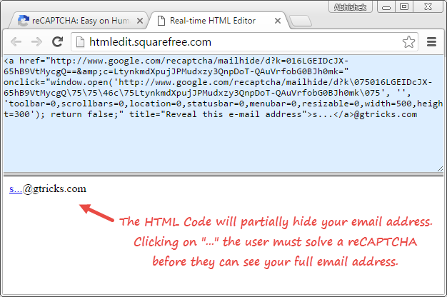 HTML recaptcha code for hidning email