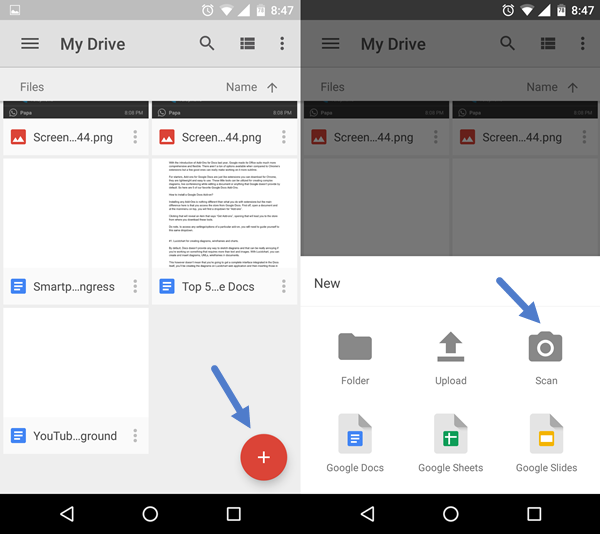 Scanning with Google Drive app
