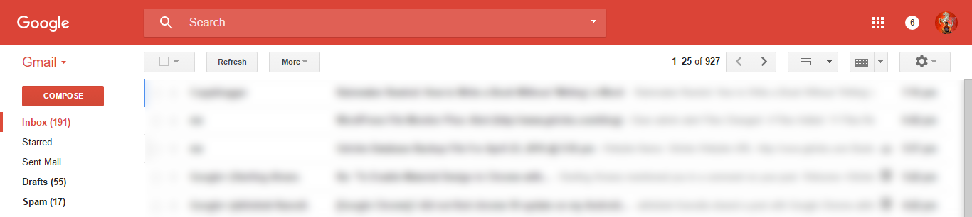 Gmail with Material Design
