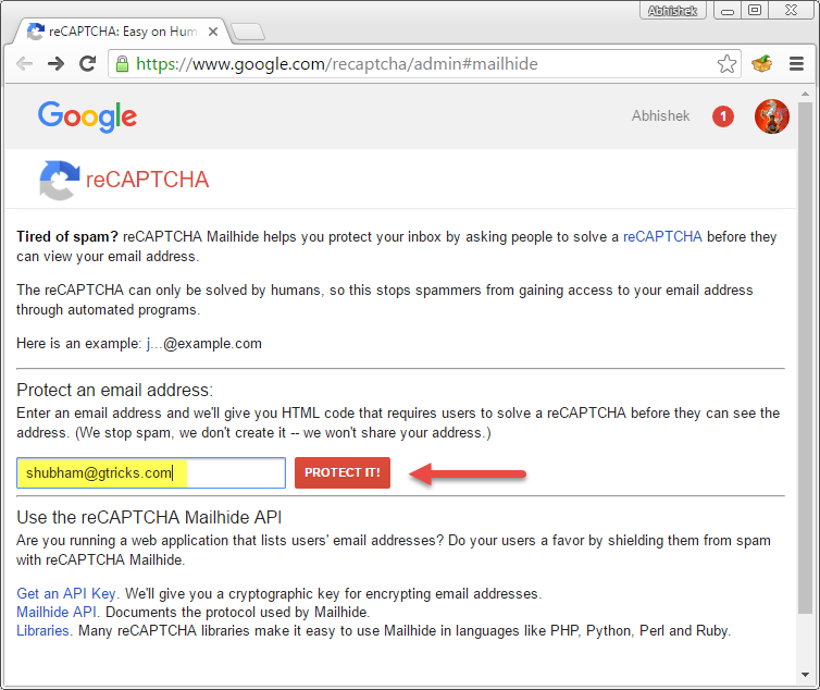 Google mailhide recaptcha tool