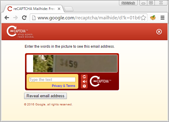 solve recaptcha for revealing email address