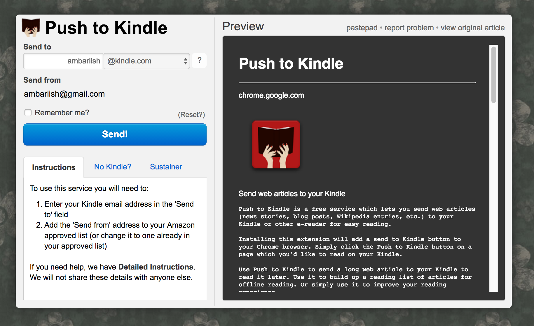 send articles to kindle from android