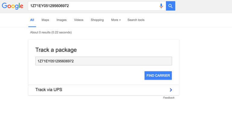 Track package in Google