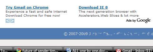 IE 8 and Chrome on same ad